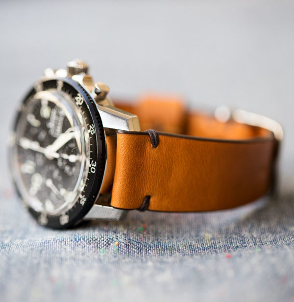 horween brown leather watch strap