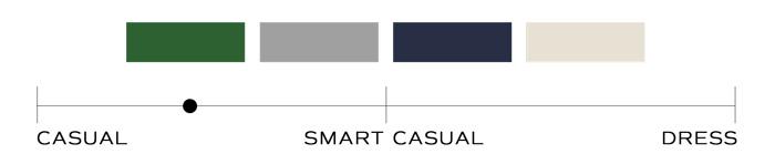 amostras de cores e escala de estilo casual