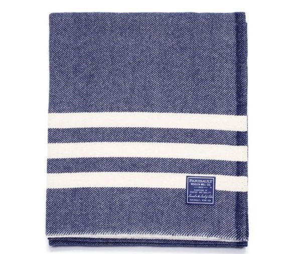 fairbault trapper blue wool throw blanket