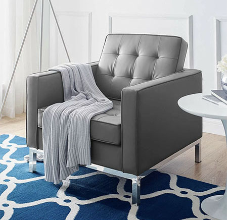 grey tufted chair from wayfair