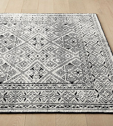 black and white detailed rug from CB2