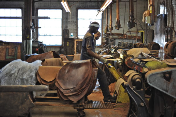 people working inside the horween leather factory