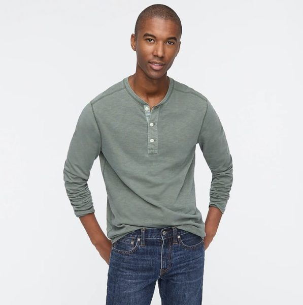 jcrew cotton henley for men