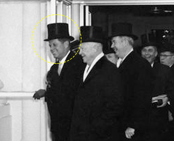 Photo of John F Kennedy wearing a hat at his inauguration