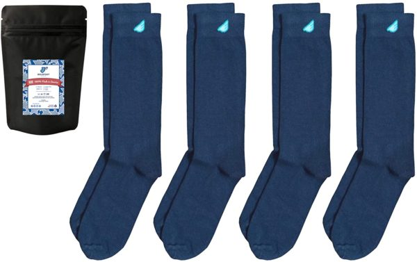 4 pack of dark blue cotton socks for men
