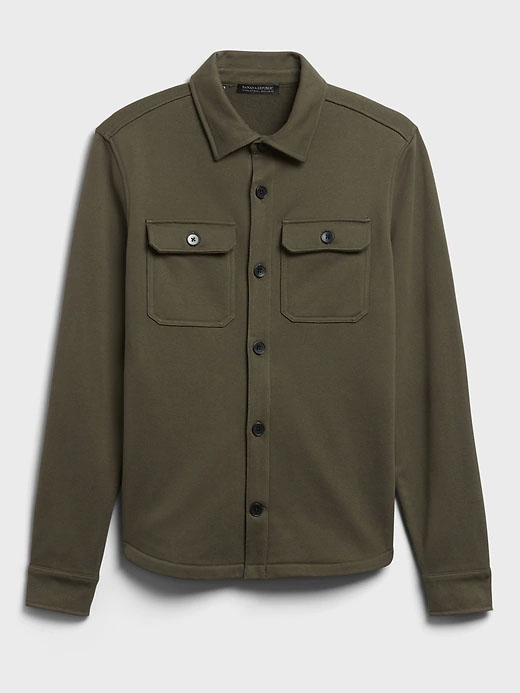 french terry shirt jacket for men from banana republic