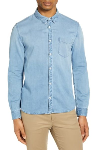 button down denim shirt for men