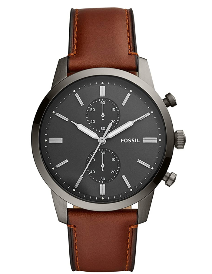 fossil watch on leather strap