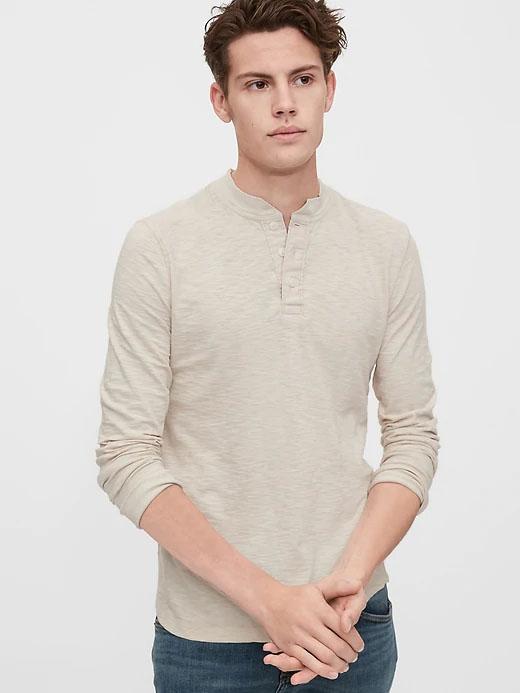 slub long sleeved henly shirt for men from gap