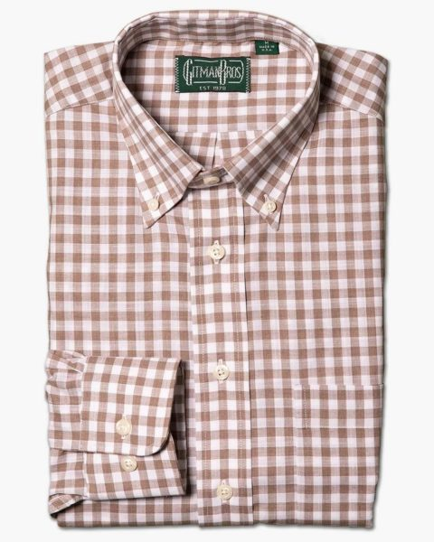 gingham print button down long sleeve shirt for men