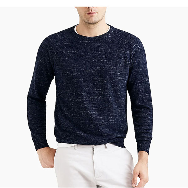 textured cotton crewneck sweater for men