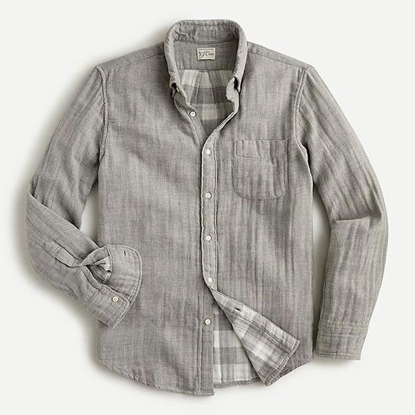 Camisa slim tecido duplo para homem da jcrew
