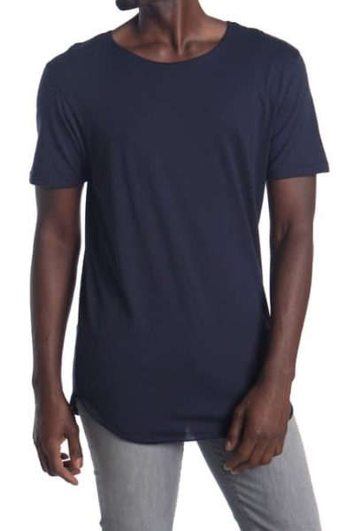 dark blue long tshirt with short sleeves for men