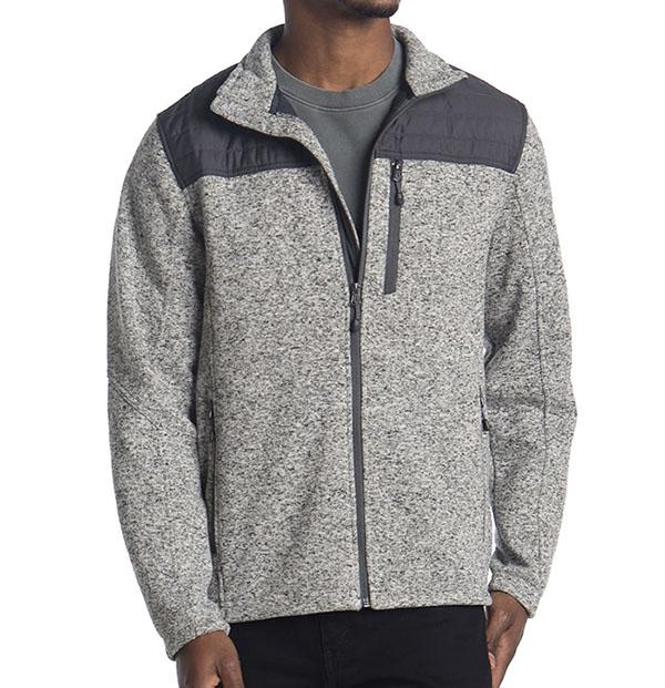 jaqueta de lã com zíper para homem