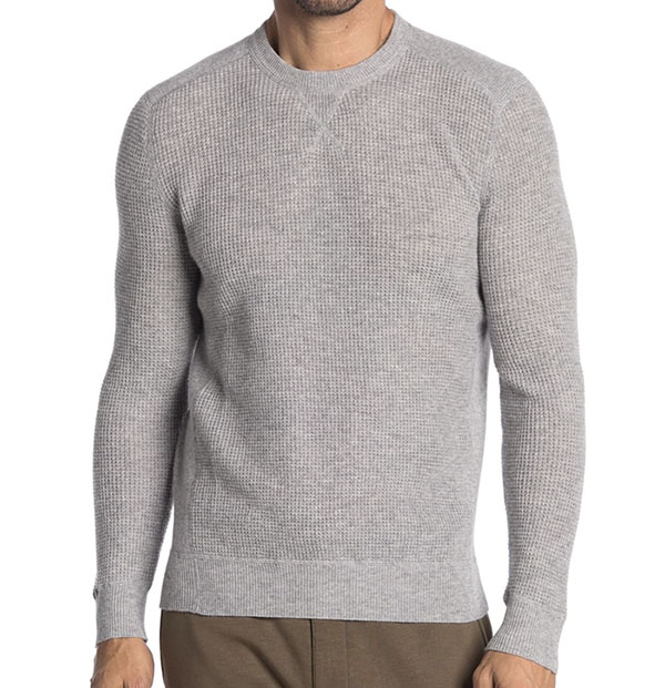 waffle knit crew neck shirt for men