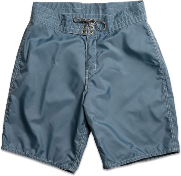 blue nylon board shorts for men