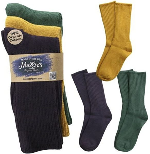 3 pack of organic cotton socks in assorted colors for men