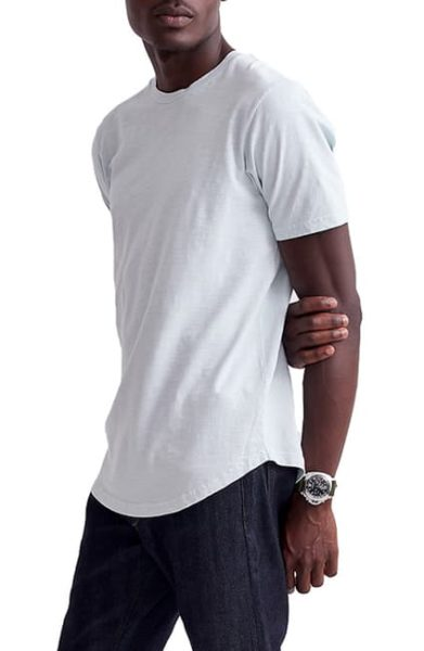 white scallop slub crew neck shirt for men