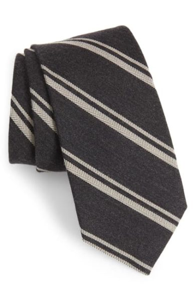 wool blend blue and grey striped tie for men