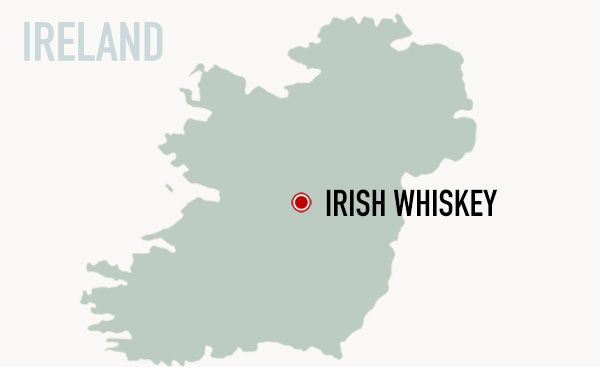 map of ireland, irish whiskey
