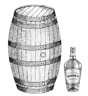 whisky barrel and bottle aging