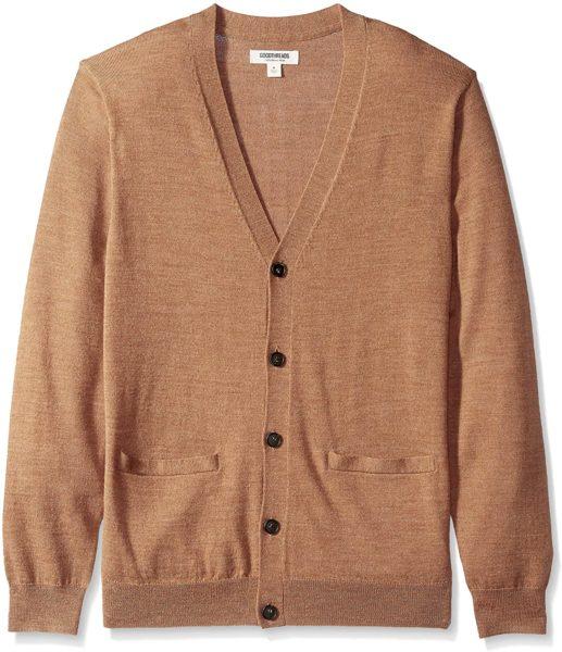 light brown merino wool cardigan sweater