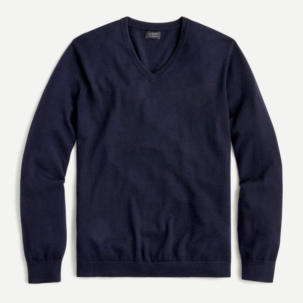 navy blue merino wool v neck sweater