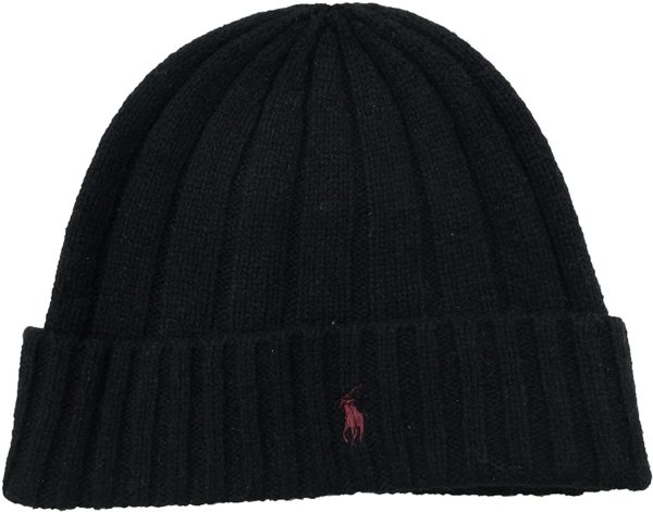 black cuffed merino wool beanie hat