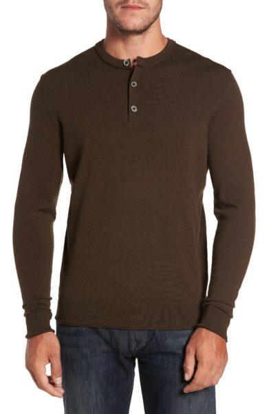 merino wool long sleeve brown henley shirt