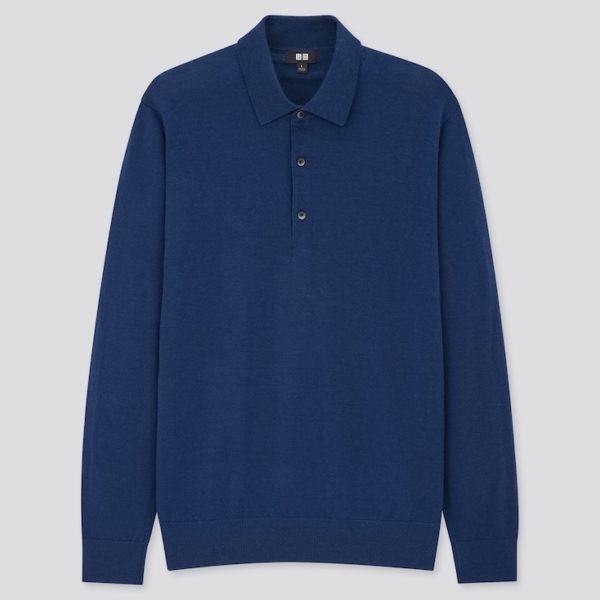merino wool long sleeve blue polo shirt