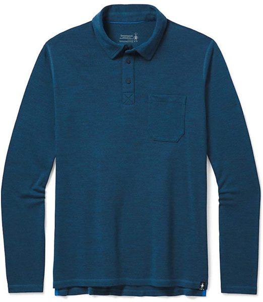 dark blue long sleeve merino wool polo shirt