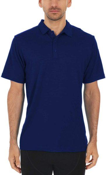 short sleeve blue merino wool polo shirt
