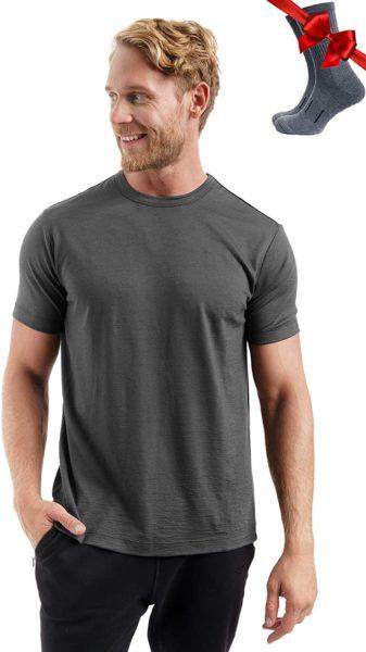 merino wool grey short sleeve shirt