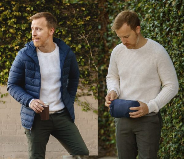 man wearing a blue packable jacket and man showing how the same jacket can be stored away