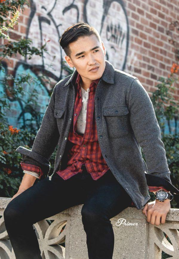 man wearing a grey fleece shirt jacket