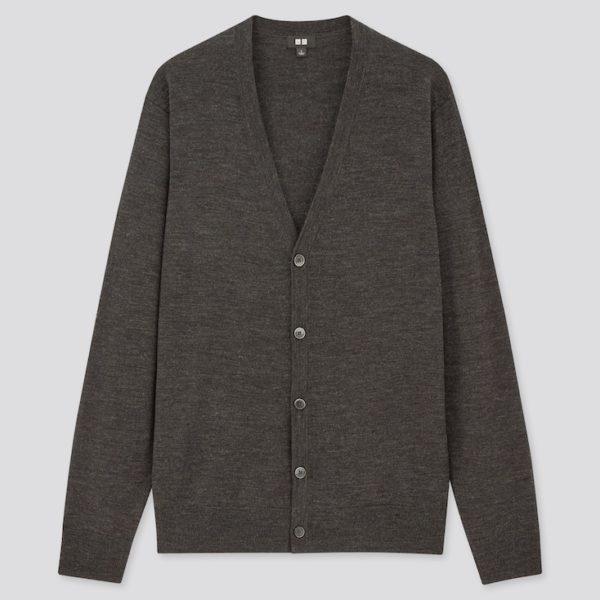 grey merino wool cardigan sweater