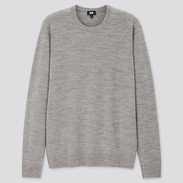 grey colored merino wool crewneck sweater