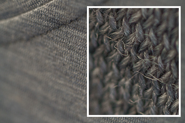 closeup of the fibers of a merino wool t-shirt