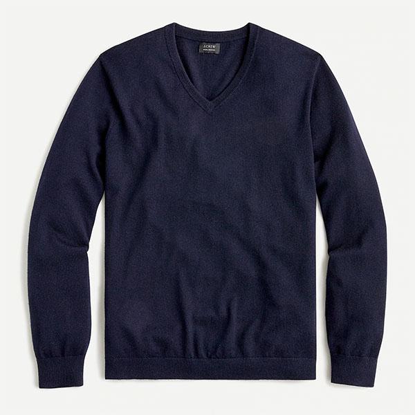 J.crew navy merino v neck sweter