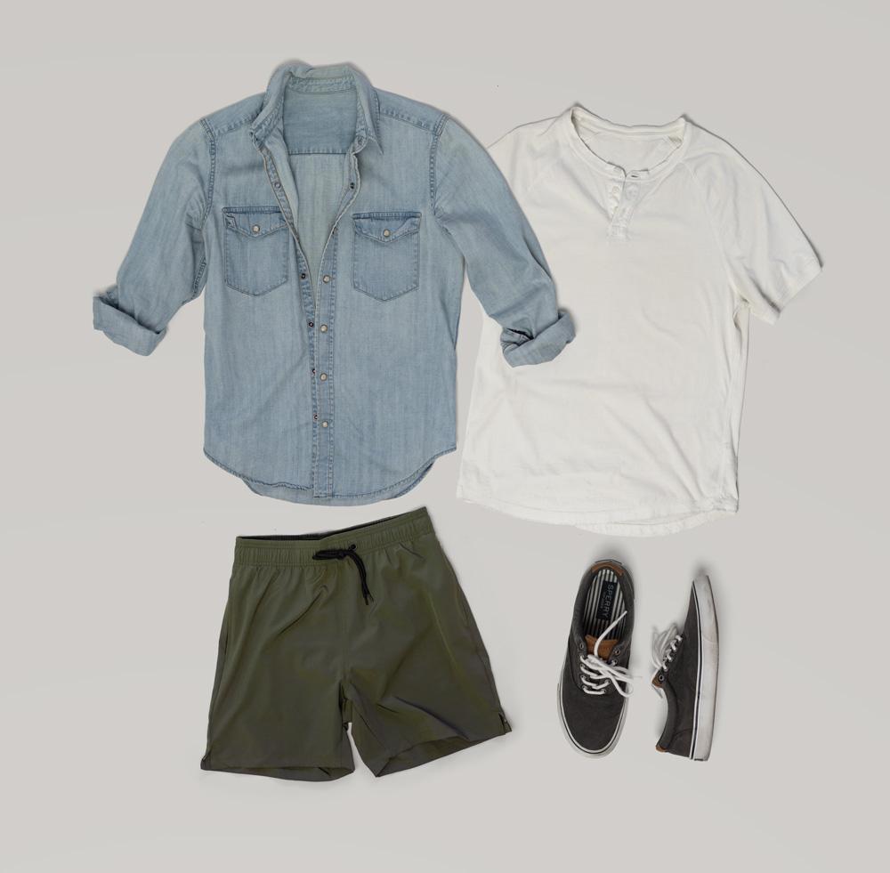 men's summer outfit green shorts, henley, denim shirt, canvas sneakers