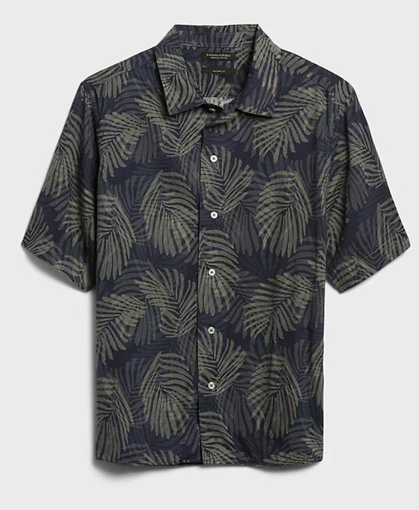 banana republic palm print short sleeve shirt