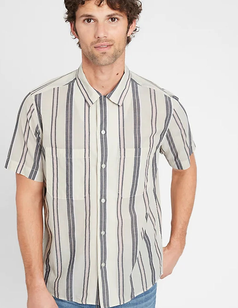 striped short sleeve button down shirt