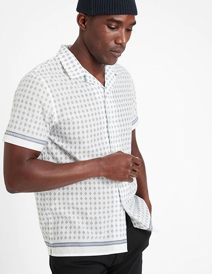 short sleeve white button down shirt