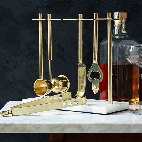 brass and marble barware set