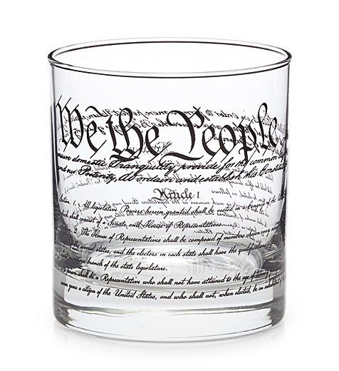 glassware with united states constitution and declaration decoration