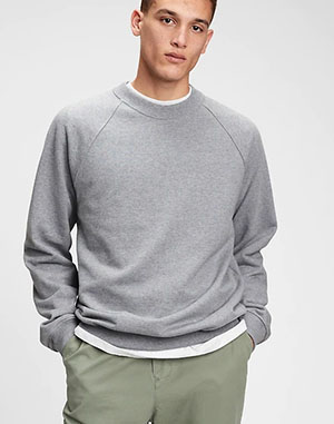 grey french terry crewneck sweater for men