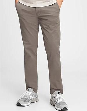 brown colored slim fit khaki pants from gap