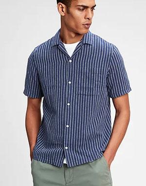 blue striped short sleeve linen shirt for men
