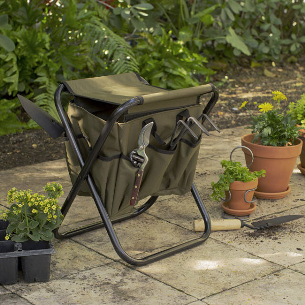 steel and nylon garden stool with tool bag