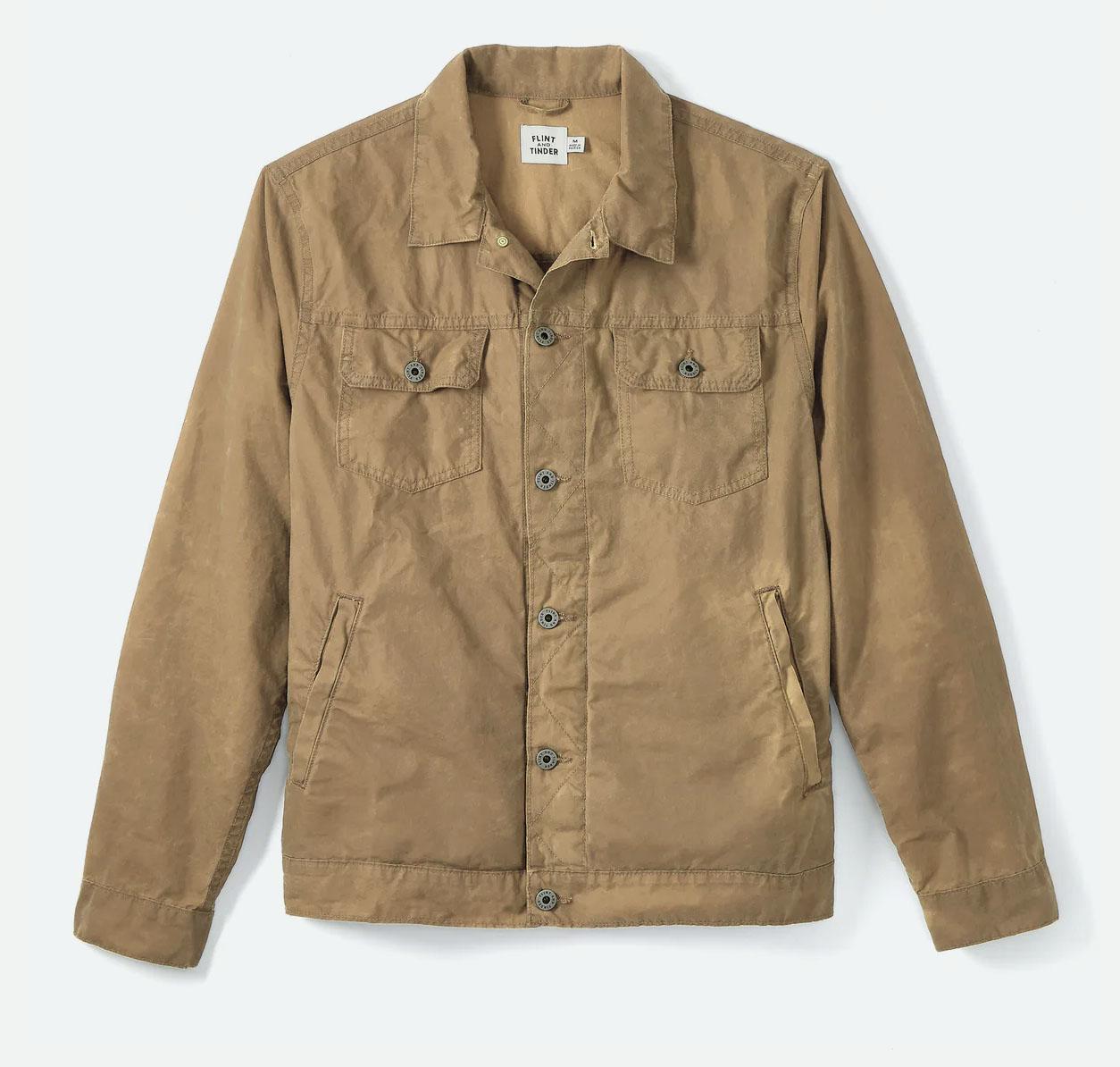 brown unlined waxed trucker jacket for men